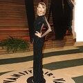 Taylor En Negro de Lentejuelas Longitud del Piso Vestido de 2014 de la Revista Vanity Fair Fiesta de los Oscar De Hollywood Pura Volver Sirena de Manga Larga Noche vestido