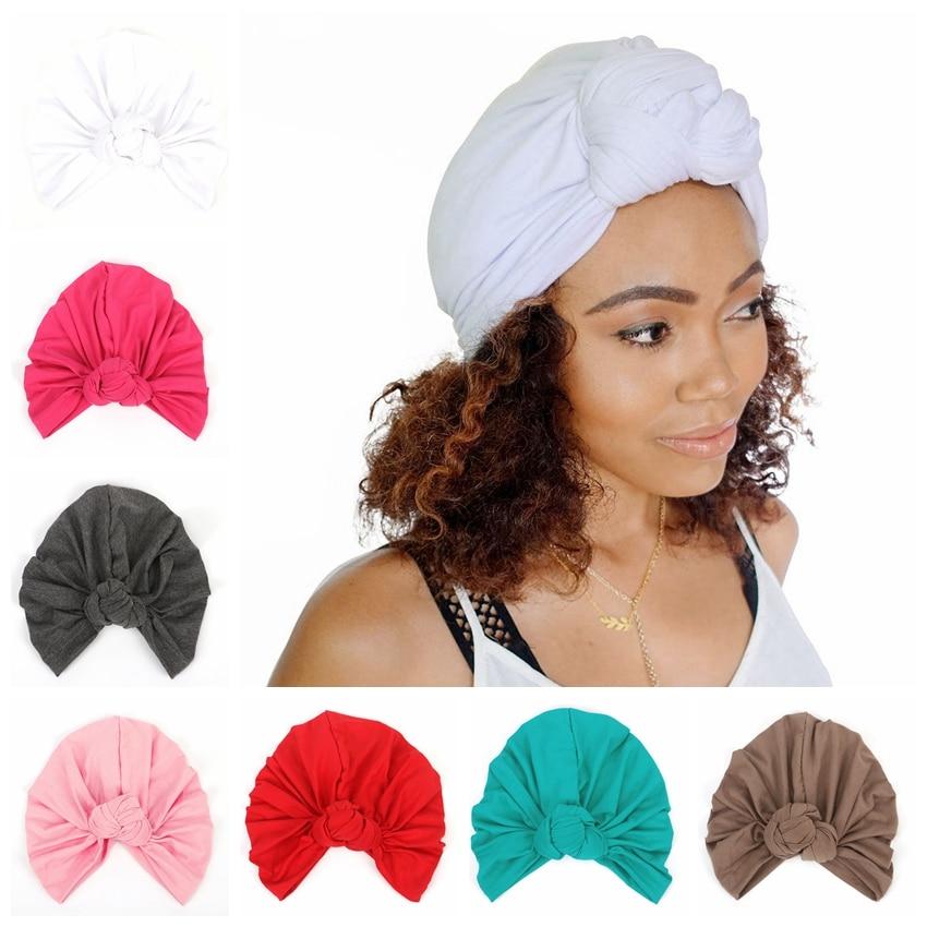 Fashion Women Turban Hat Cotton Blend Yoga Pullover Caps Beanie India Turban Hat Hair Accessories Outdoor Headwear