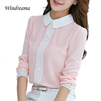New Spring Autumn Chiffon Blouse Women Long Sleeve Lace Crochet Tops Peter Pan Collar Blouses White