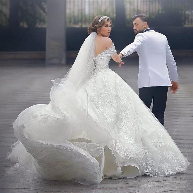 Modest Arabic Style Wedding Dresses Off Shoulder Full Lace Chapel ...