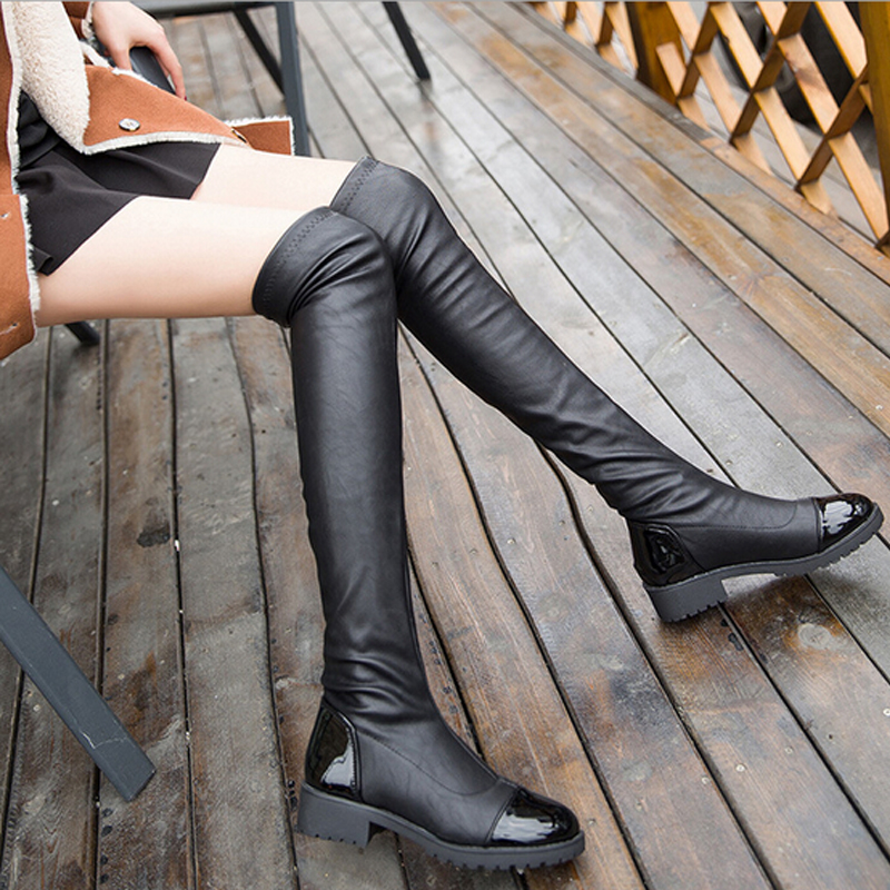 Women Boots 2016 Autumn Winter Ladies Fashion Slim Flat Heel Leather Shoes Over The Knee Thigh High Long Boots#CXL23
