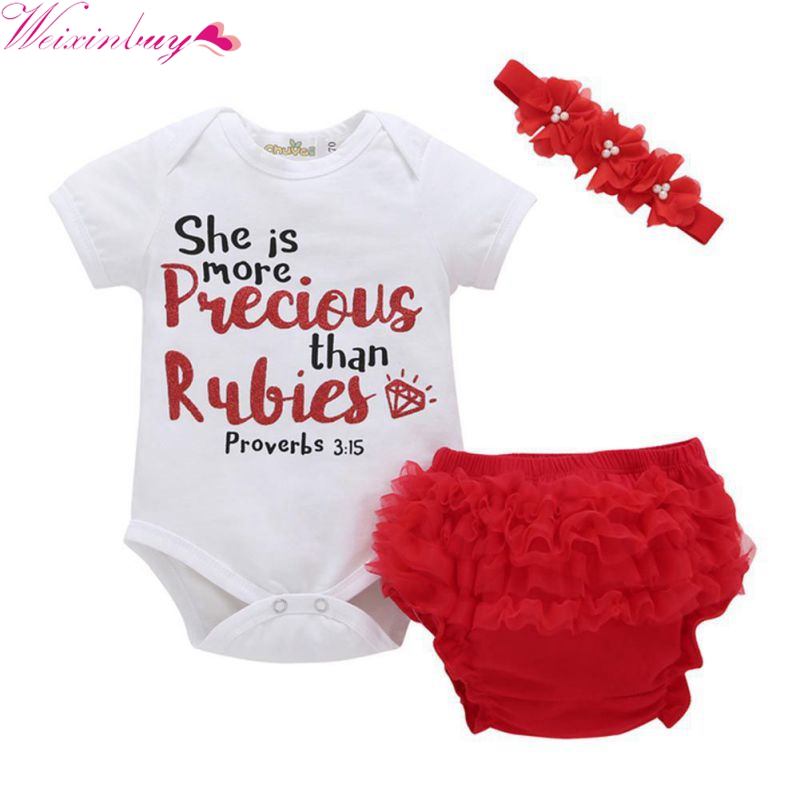 3 PCS New Newborn Infant Baby Boys Girls Clothing Set Short Sleeve Letter Bodysuit One-p ...