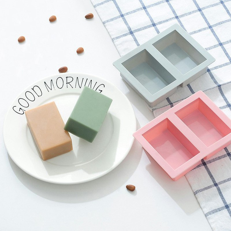 GOOD 2 Cavity Plain Basic Rectangle Silicone Soap Mold Soap Molds Homemade DIY Craft Form Ice Cube Tray Cake Mould Bathroom