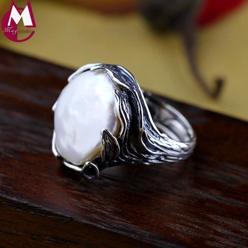 Luxe naturel perle Vintage Design bohème Antique arbre feuilles anneaux de mariage pour les femmes 925 bijoux en argent Sterling