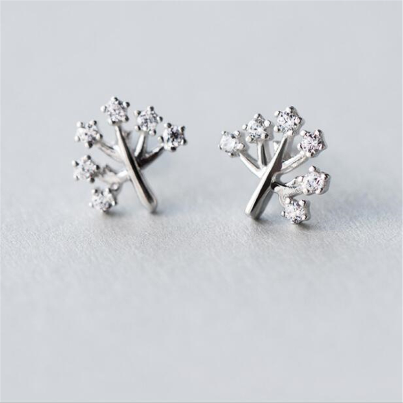 trendy high quality cute handmade 925 silver Shiny sweet Jewelry Original Earrings women wishing tree girls jewelry <font><b>E2670</b></font> image