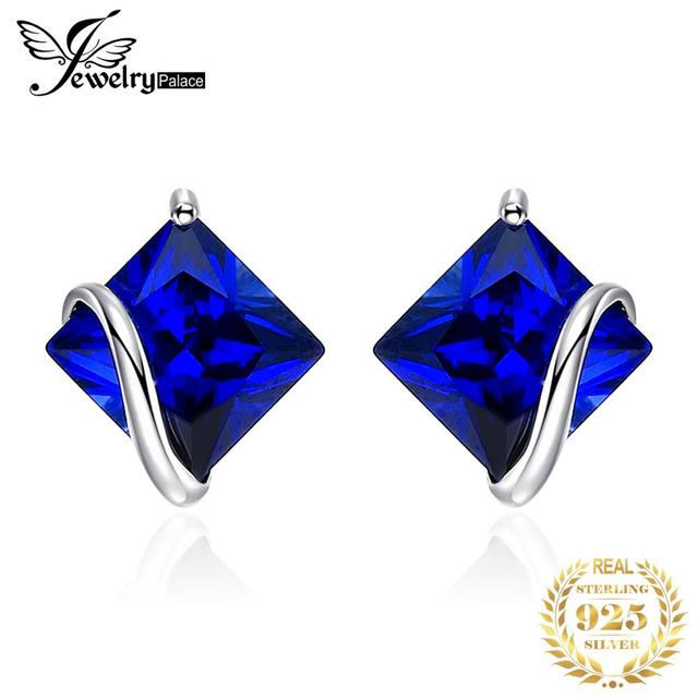 JewelryPalace Classic 2.8ct Created Sapphire Stud Earrings Charm 925 Sterling Silver Fine Jewelry For Women Fashion Accessories