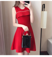 Spring Autumn New Korean Party Dress Women Fashion Beaded Temperament Slim Off The Shoulder Knit A Line Dress