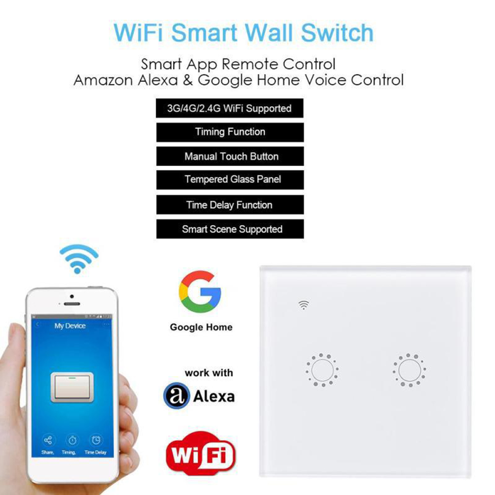 Smart Shutter 2 4Ghz Wifi Curtain Switch Touch Control Wall Switch works with Alexa Google Home for Curtain Roller Motor Door in Automatic Curtain Control System from Home Improvement