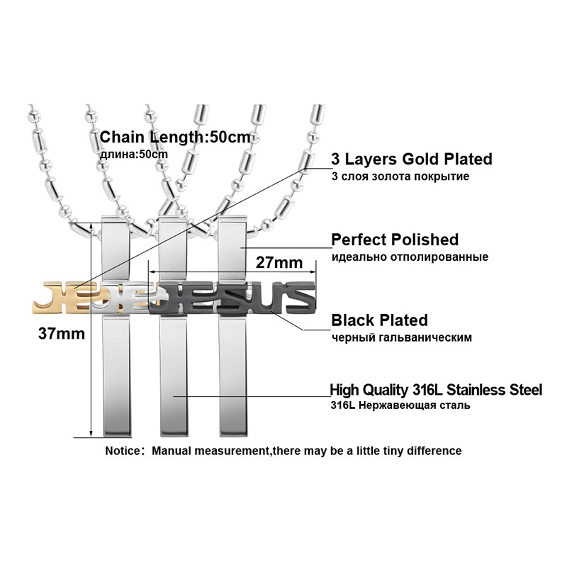 Effie Queen Black Gold Stainless Steel Jesus Cross Pendant Necklaces Long Chain Men Religious Jewelry Accessories FN03