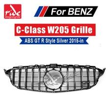 W205 GTR Стиль передняя гриль ABS серебро для benz c-class w205 c180 c200 c250 c350 frontstostange без Камера решетка с отверстиями 2015 +