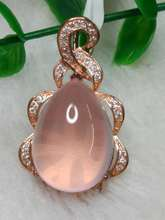 Natual pink crystal silver pendant ,pears 13mm*18mm, special design and special gift for Christmas