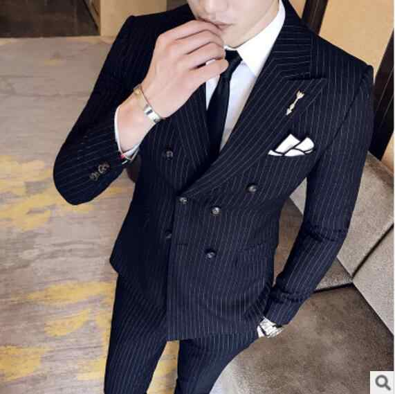Ch。kwokファッションメンズウェディングスーツ2個ジャケット+パンツストライプ男性秋カジュアル生き抜くジャケットズボンフォーマルメンズスーツスリム