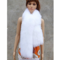 Real Fox Fur Women Scarf 200 cm 100cm Length Female Genuine Fur Material Scarves Black White And Gray Fluffy Thickness Fashion