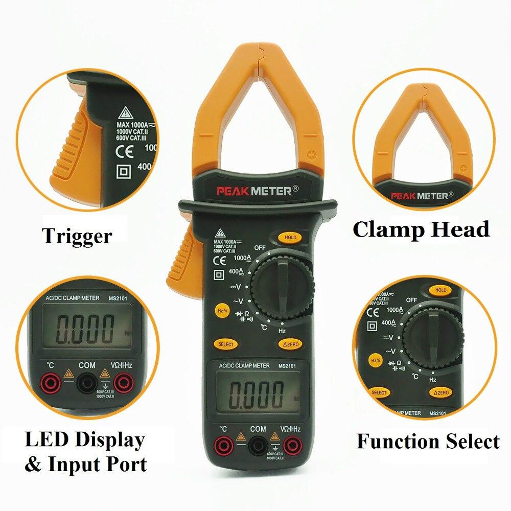 MS2101 Auto Range Pince Multimètre Multimètre Numérique DC AC Tension Mètre Résistance Fréquence Rétro-Éclairage