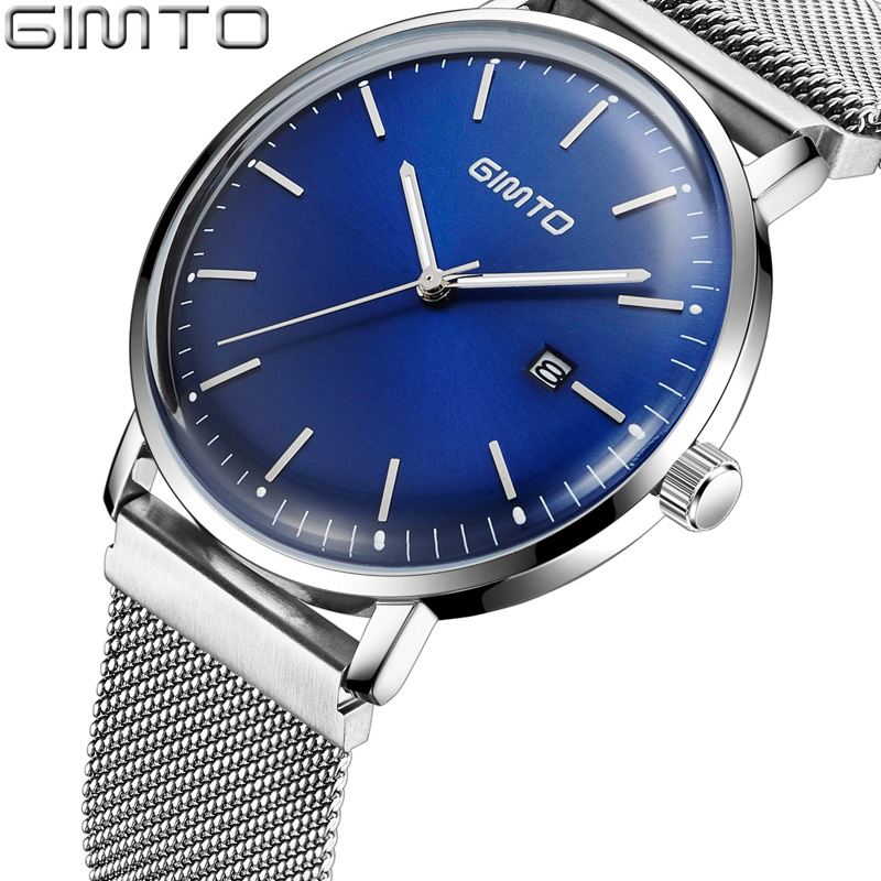 Fashion Style GIMTO Casual Men Watches Blue Silver Ultra Thin Business Waterproof Stainless Steel Man Wristwatch Minimalism ysdx 398 fashion stainless steel self stirring mug black silver 2 x aaa