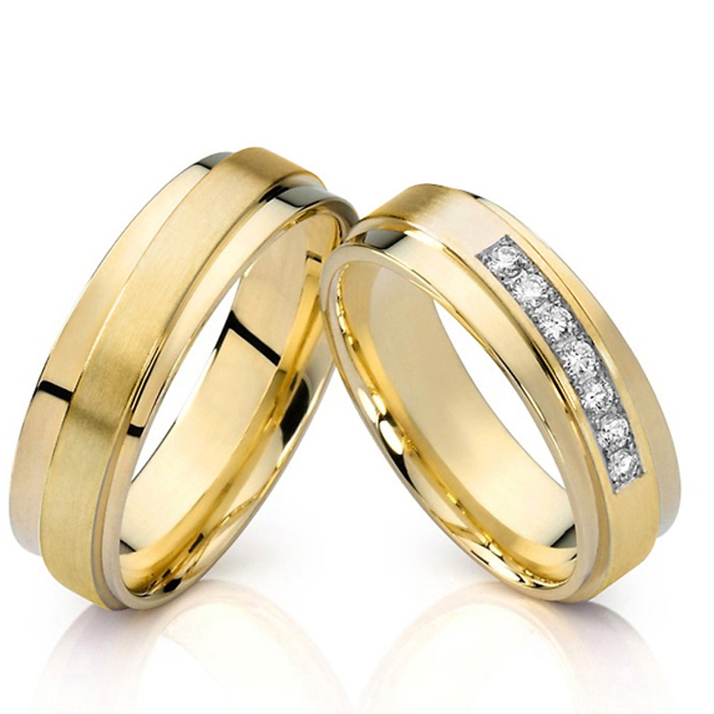 Unique Mens Couple Rings Gold Color anillos anel bague bijoux femme Wedding Band Engagement Rings For Women
