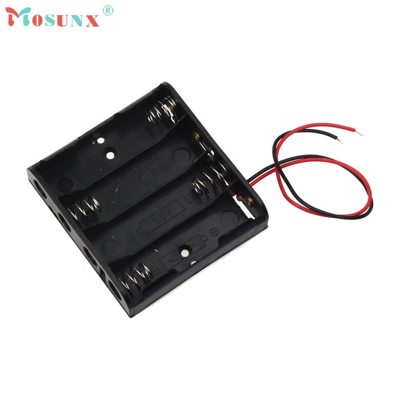 Mosunx 1pcs AA Power Battery Storage Case Plastic Box Holder Leads With 4 Slots recargable Sept21 Drop Shipping MotherLander