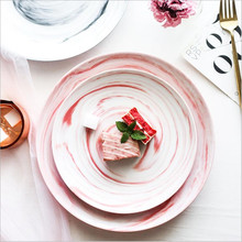 Nordic Natural  Marble Ceramic Dish Cake Bread Fruit Containter Breakfast Plate Western Steak Pizza 1PC