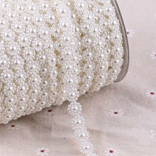 HOT 1cm Wide Connection Imitation Pearl Diy Beaded Jewelry Hair Decoration Clothing Fine Tulle Lace With Beads And Stones Fabric