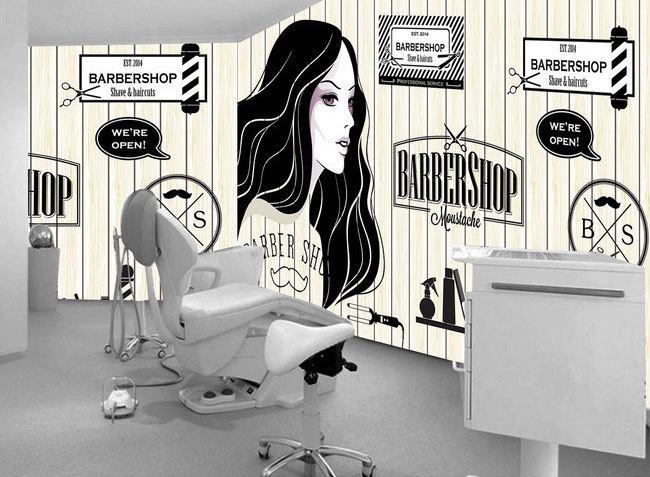 Europejskie i amerykańskie retro drewno fryzjer sklep sklep kosmetyczny duży mural tapety 3d tapety sypialnia salon tv stereo 3d 14