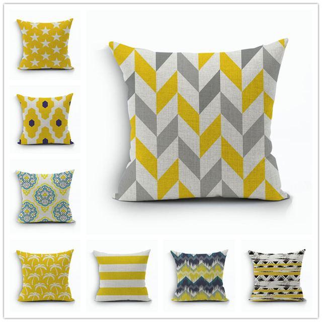 en gros linge taie d oreiller jaune housse de coussin gris nordico geometrique style decoratif