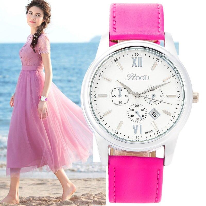 Sports Watch Clock Women Silver Plate 6 Color Gift Box Leather Strap Wristwatch Waterproof Female Quartz