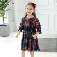 Candydoll子供女の子oネックレースベルト赤い格子縞のドレスの女の子甘い花びら長袖プリンセスドレス3-10y SAJ3200