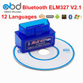 Best Price Bluetotoh ELM327 Scanner V2.1 ELM 327 OBD2 Code Reader Support 7 OBDII Protocols ELM327 OBD Car Diagnostic Scan Tool