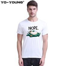 d5bab7c78d Yo-Young Men T-shirts Pokemon Snorlax Nope Funny T Shirts Digital Printing  100% Combed Cotton Casual Top Tees Homme Customized