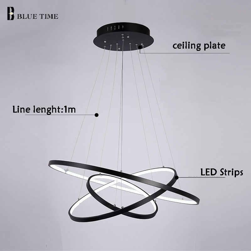 Черный и белый и золотой корпус современный круглый кольцевой светодиодный простой подвесной светильник для гостиной столовой подвесной висячий светильник Домашний Светильник