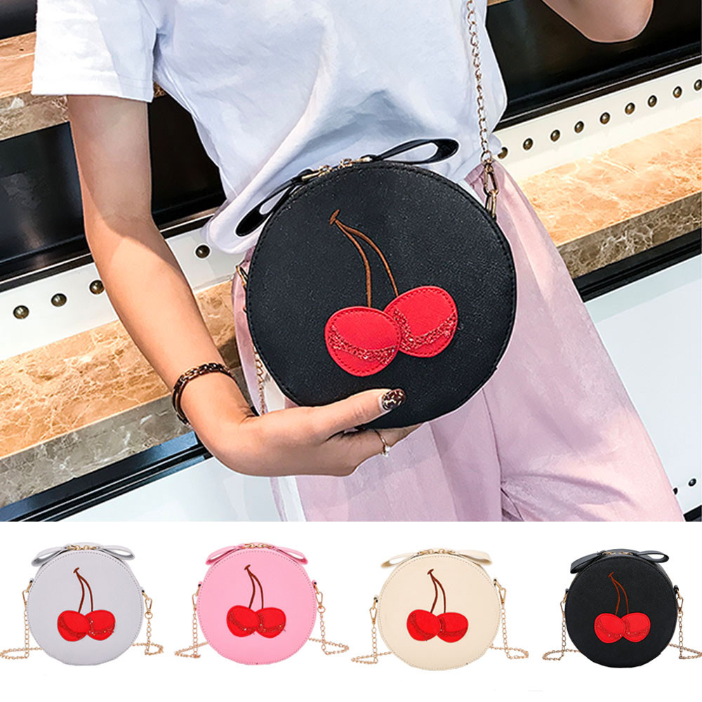 2018 New Arrival Messenger Bags Round Women Leather Crossbody Bags Ladies High Quality Cherry Print Zipper Shoulder Bag bolsos S