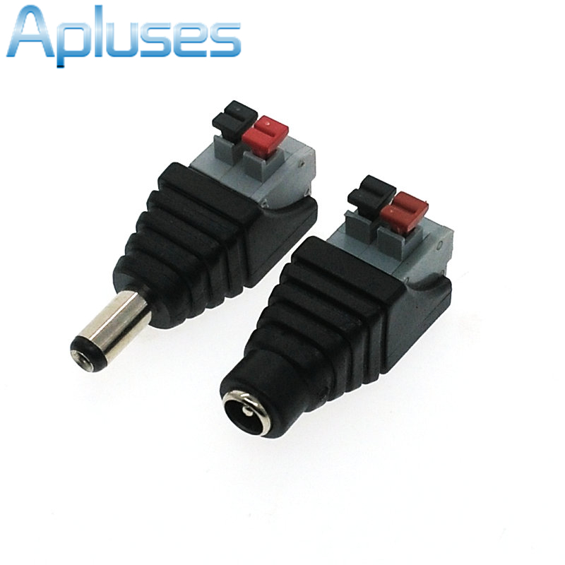 1Pcs Advanced DC Male Female Connector Power Adapter Plug Connectors For 5050/3528 Single Color LED Strip Light  10pair 12v push dc connector adapter for 5050 3528 single color led strip and cctv camera 5 5x2 1mm no screw 10x female 10x male