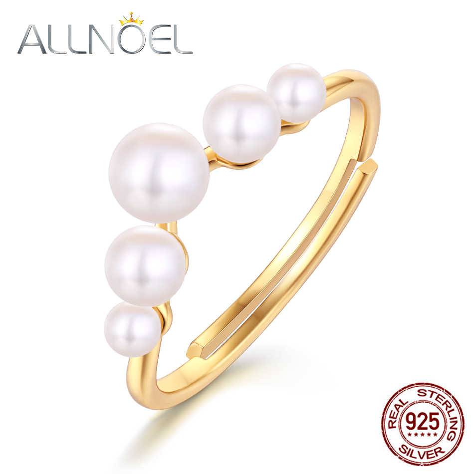 ALLNOEL Solitary 925 Sterling Silver Pearl Rings For Women 4.5mm Mother Of Pearl Engagement Ring  Valentine's Day Present 2019