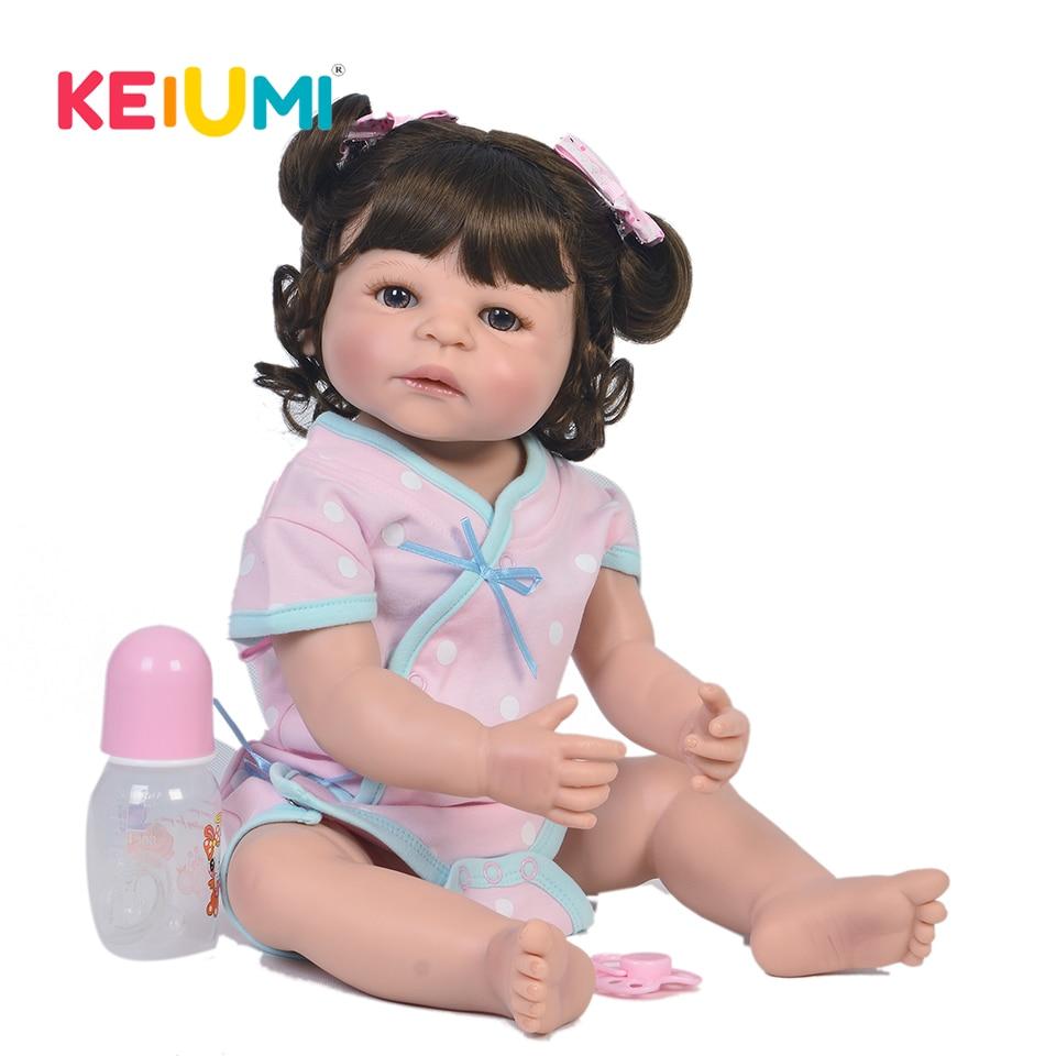 Fashion 57 cm Reborn Baby Doll Realistic Princess KEIUMI Toy 23 Inch Full Vinyl Silicone Baby Dolls Newborn Kids Birthday Gift цена