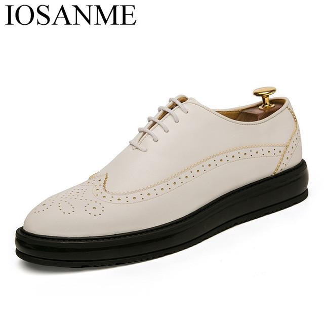 platform leather men shoes italian formal dress male footwear luxury brand wedding shoes men classic brogue oxford shoes for men