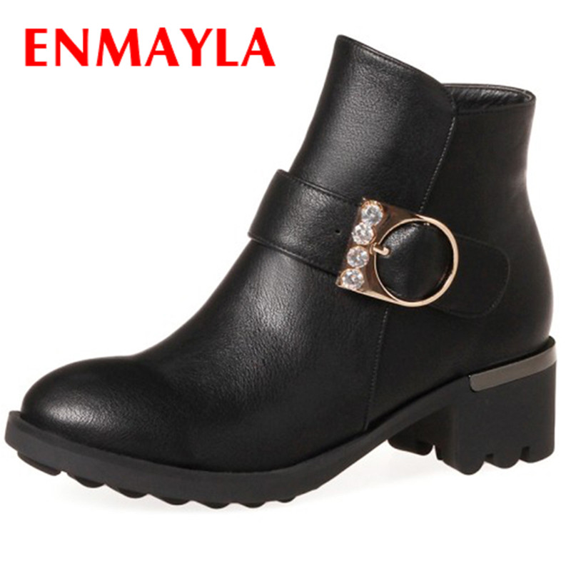 ENMAYLA New Squre Heel Boots Crystal for Women  Solid Leather Shoes Round-toe  Winter Boots Plus Size 34-43 Womens Shoes enmayla new lace up boots for women western solid pu shoes pointed toe spring autumn boots 34 43 womens fashion dating shoes