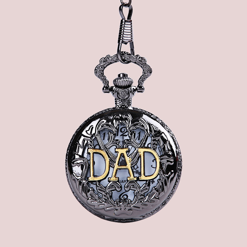 Father's Day Gift Pocket Watch! Quality Bronze Hollow Retro Golden Dad Logo Quartz Pendant Reloj Best Gift Montre To Father