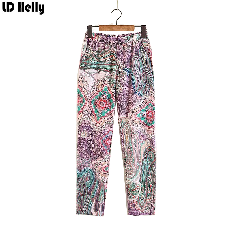 LD Helly 2018 Women Paisley Print Wide Leg Pants Female Elastic Waist Bow Tie Pockets Cozy Streetwear Casual Trousers Mujer