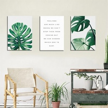 Laeacco Tropical Leaves Wall Artwork Canvas Painting Green Style Plant Nordic Posters and Prints Decorative Picture Home Decor