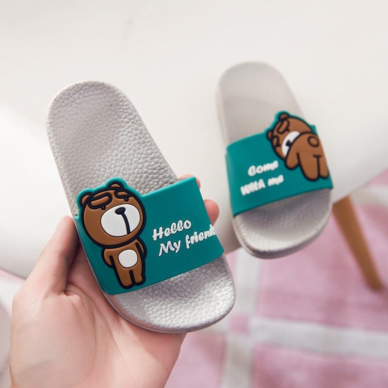 Summer Children Shoes Girls Boys Slippers Lovely Cartoon Bear Fashion Kids Slippers Anti-slip Girls Slipper Beach Shoes B07081 3