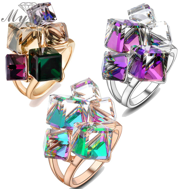 Mytys Fashion Geometric Square Crystal Color Ring for Women Cocktail Party Rings Rose Gold GP R540