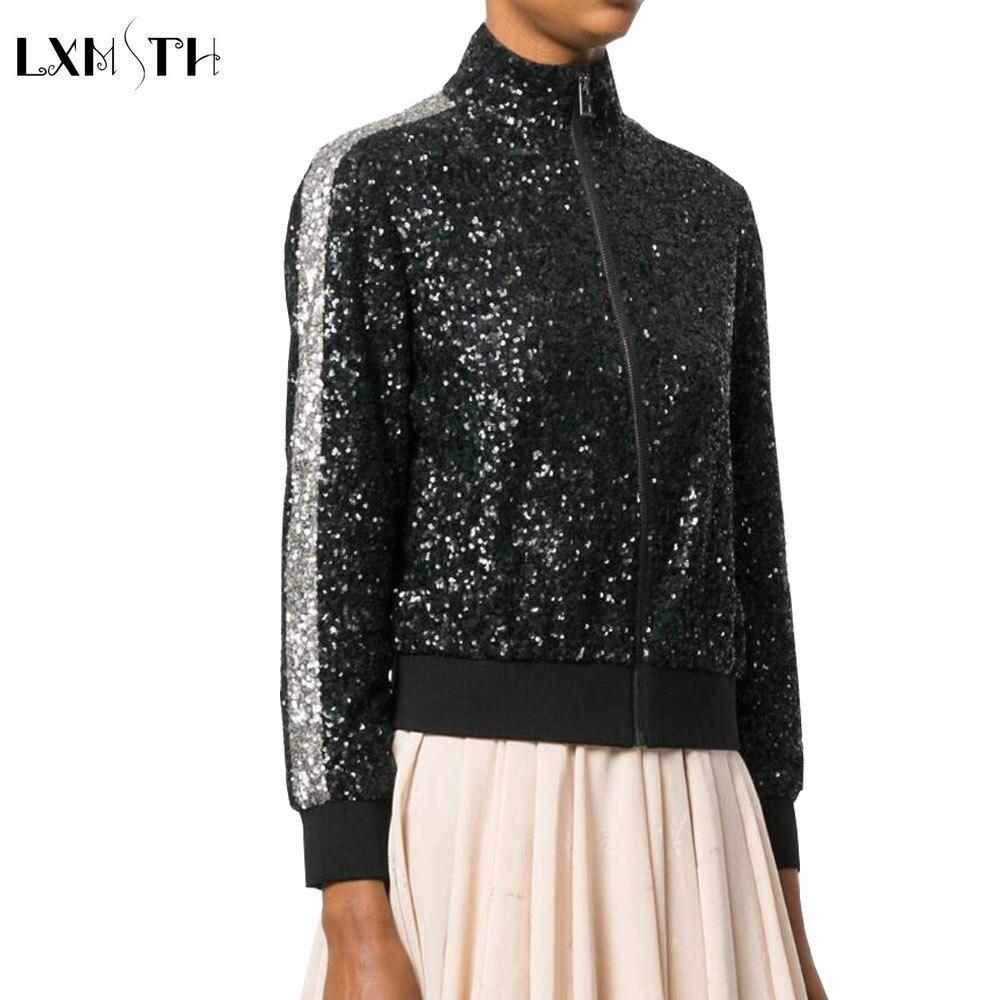 2018 Spring Short Sequined Jacket Women Style Fashion Bomber Jackets Female Street Cloth ...