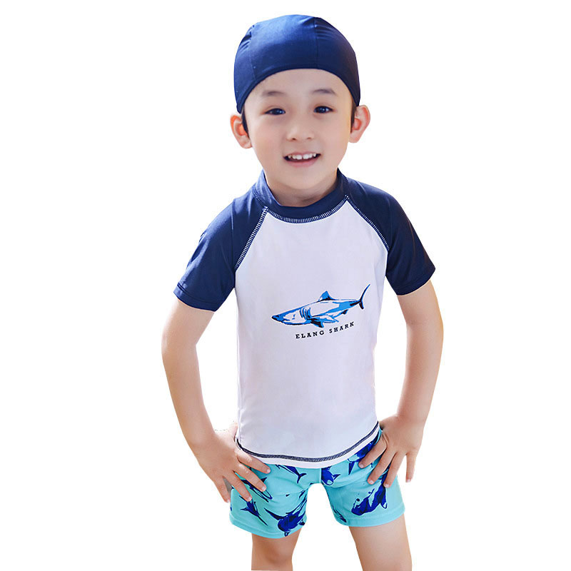 GI FOREVER Children Two Pieces Suit With Cap Boy Shark Print Swimwear 2018 Kid Cool Swimsuit Bathing Suit Maillot De Bai