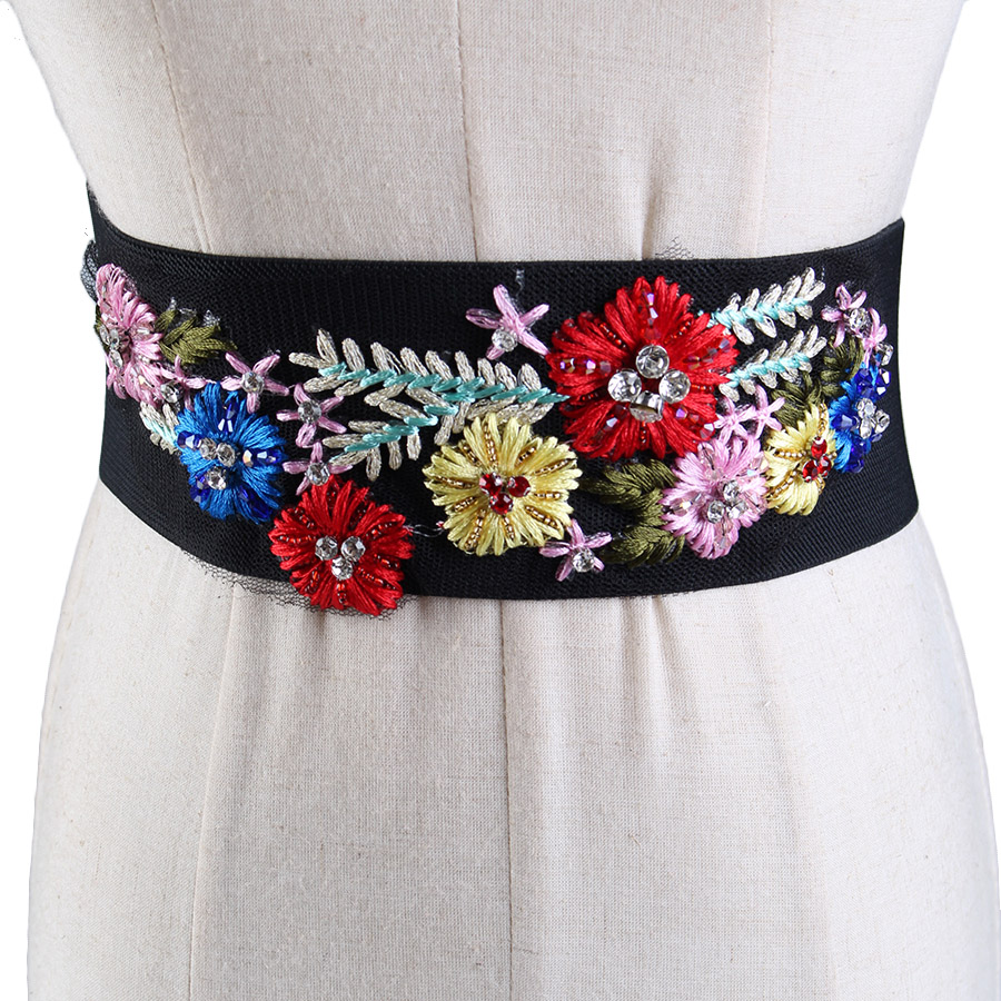 Vintage Embroidered Stretch Wide Belt Lady Folk Style Diamond All-match Cheongsam Wedding Accessories Elastic Waistband F409