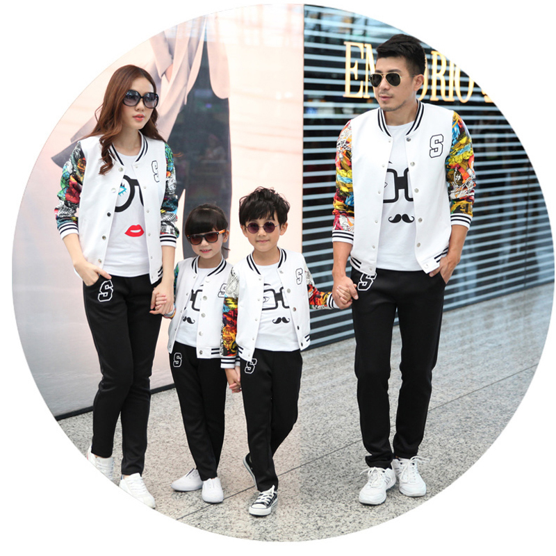 Family Clothing Set Matching Mother Daughter Baseball Clothes Family Look Father Baby Matching Sport Clothing Outfit Ma e Filha matching family clothing set 2015 autumn style winter family look matching mother daughter father son long sleeve sweater set
