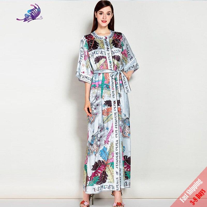 High Quality Summer Runway Designer Maxi Dress Women Half Sleeve Character Beading Print Split Loose Long Dress Free DHL Aramex
