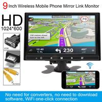 9 Inch 12V 1024*600 TFT LCD Color Multifunction Car Headrest Monitor Support HDMI/VGA/AV/Wireless Mobile Phone Mirror Link