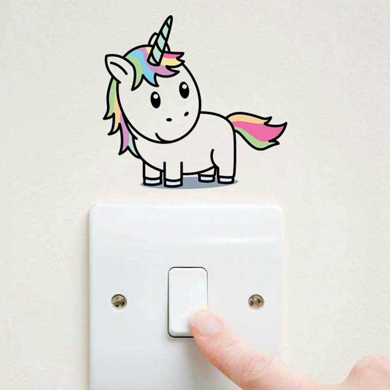 Pegatinas de pared de colores con diseño de estrellas y unicornio de dibujos animados, para habitación de niños, pegatinas extraíbles para decoración del hogar