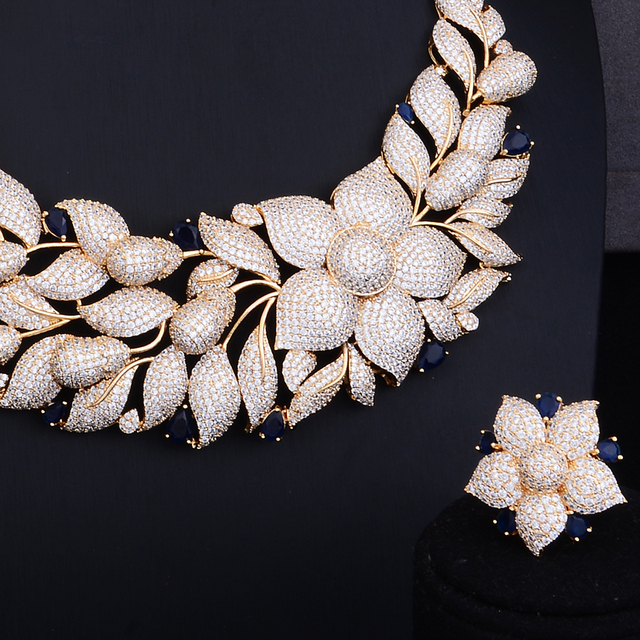 Luxury Rose Flower Cluster Floral 2 Tone Wedding Jewelry Set 3