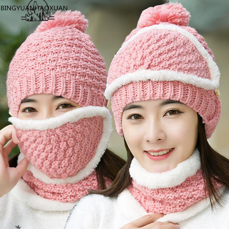 Bingyuanhaoxuanwinter Women Knitted Hat Scarf Two Pieces Set Fashion Wool Thickening Hat Collars Female Warm Hat Casual Snow Cap